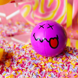 Purple Smiley Halves on Sprinkles