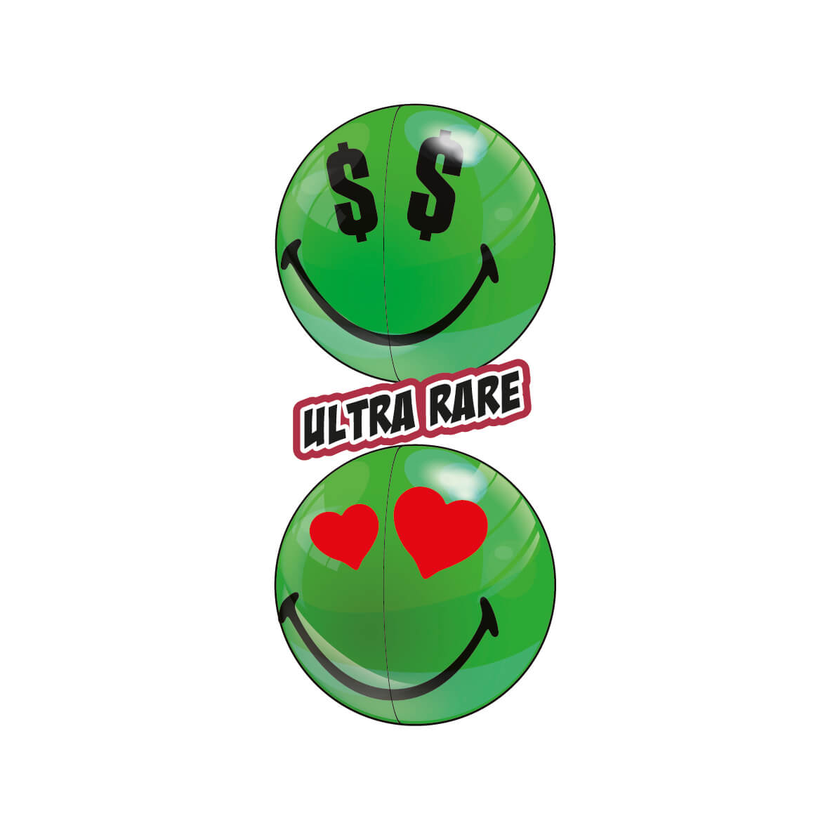 Two Green Ultra Rare Smiley Halves